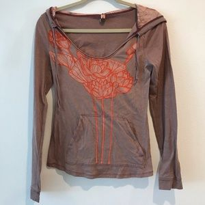Free People Knit Hoodie Floral Graphic Print Sz S